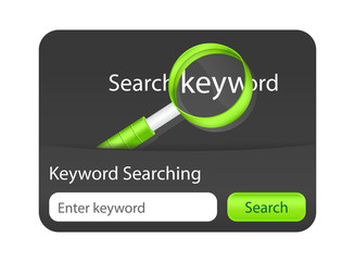 Keyword searching website element with magnifying glass.