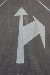 Road markings with footpath