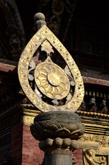 Architectural detail of buddhist monastery -  dharma wheel,Nepal