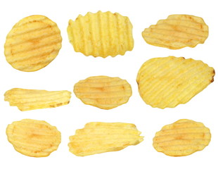 potato chips isolated on white background, with clipping path