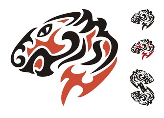 Tribal tiger head. Black and red on the white