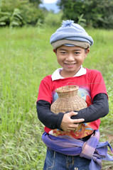 A little thai farmer in field