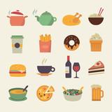 Flat Food Icons - 66217365