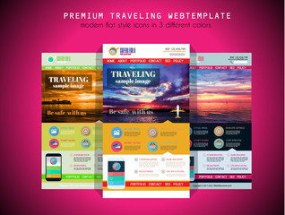 One page TRAVEL website flat UI design template