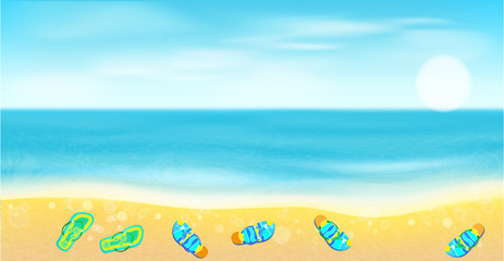 Beach, sea,sand  and bright beach shoes.Summer  background.
