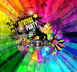 PArty Club Flyer for Music event with Explosion of colors.