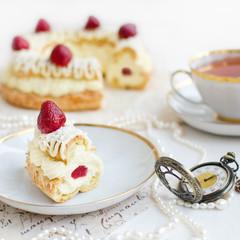 Slice of Paris-Bresr Cake with Strawberries