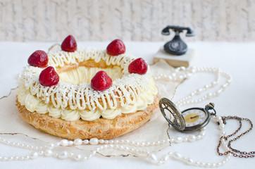 Paris-Brest Cake with Strawberries