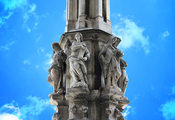Column and Statue of Milan Cathedral, Italy