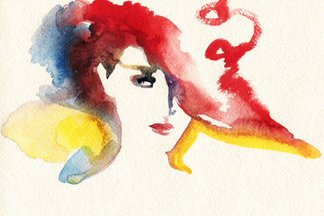 abstract  watercolor .woman portrait