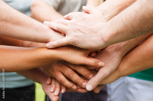 Human hands showing unity - 66219358