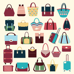 collection of Women and men handbags and travel bag