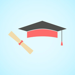 flat graduation cap and diploma, concept of education and knowle