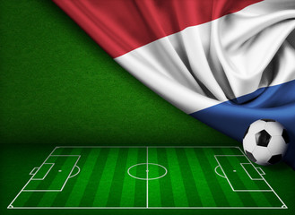 Soccer or football background with flag of Nederland