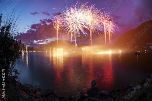 Plexiglas Uitvoering Fireworks on the Lugano Lake