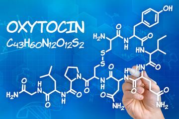 Hand zeichnet chemische Strukturformel von Oxytocin