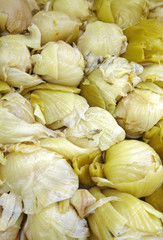 close up many chinese sour cabbage in chinese market