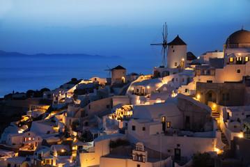 Oia village in evening after sunset, Santorini, Greece