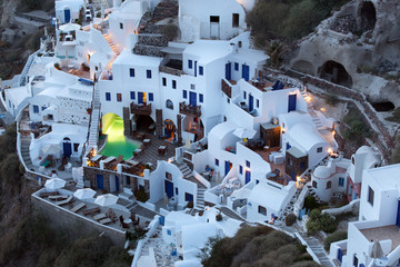 Oia village in evening after sunset, Santorini, Greece