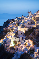 Beautiful Oia village view after sunset in Santorini island, Gre