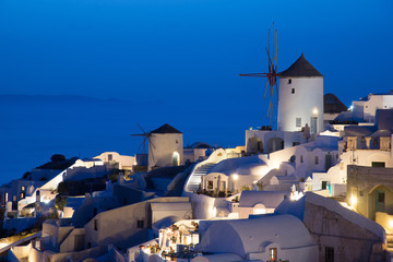 Beautiful Oia village view after sunset in Santorini island