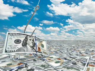 Dollar and fish-hook on cloudscape. Financial concept..