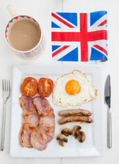 fried english breakfast with british flag and tea