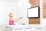 woman watching tv hold remote control poster