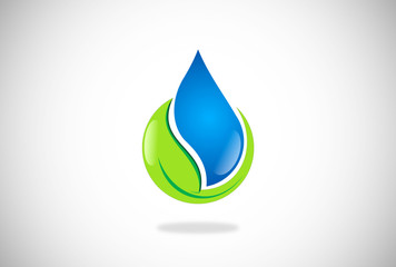 water and leaf natural vector logo