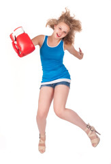 Pretty girl in boxing gloves