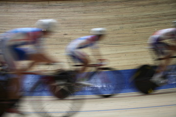 Velodrome  competition speed blurred motion
