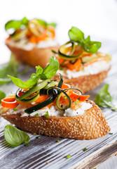 Zucchini,carrot and cheese bruschetta