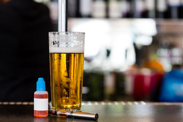 e-liquid and beer with electronic cigarette