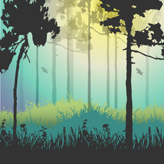 Vector illustration of green forest