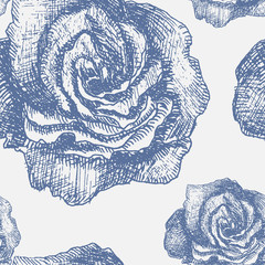 Seamless pattern with decorative magnolias flowers. Vector flora