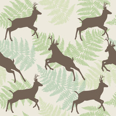Vector deer seamless background with fern