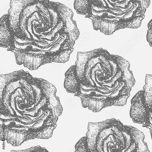 Seamless pattern with decorative magnolias flowers. Vector flora - 66226744
