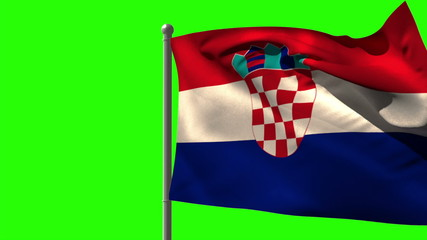 Croatia national flag waving on flagpole