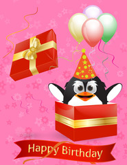 Penguin happy bitrhday card