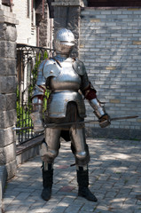 knight in the ancient metal armor