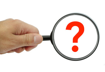 Magnifying glass with red question mark on white background