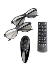 Two pairs of 3D glasses and remote control TV