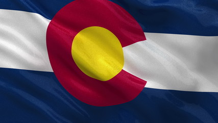 US state flag of Colorado waving in the wind - loop