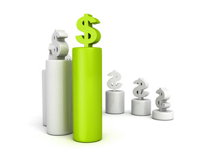 dollar currency bar chart diagram with green top