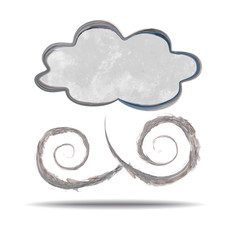 grunge illustration of a cloud and wind