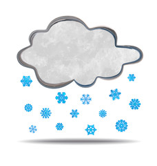 grunge illustration of a cloud and snowflakes
