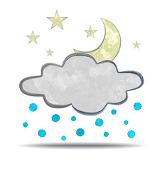 grunge illustration of a cloud, moon and hail