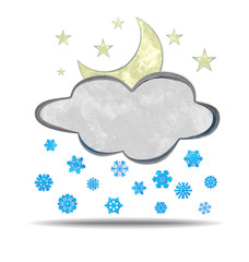 grunge illustration of a cloud, moon and snowflakes
