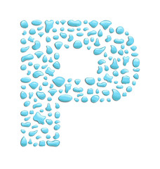 abstract letter p created with water drops