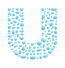 abstract letter u created with water drops